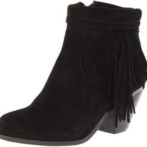 Sam Edelman Louie black leather fringed ankle boot